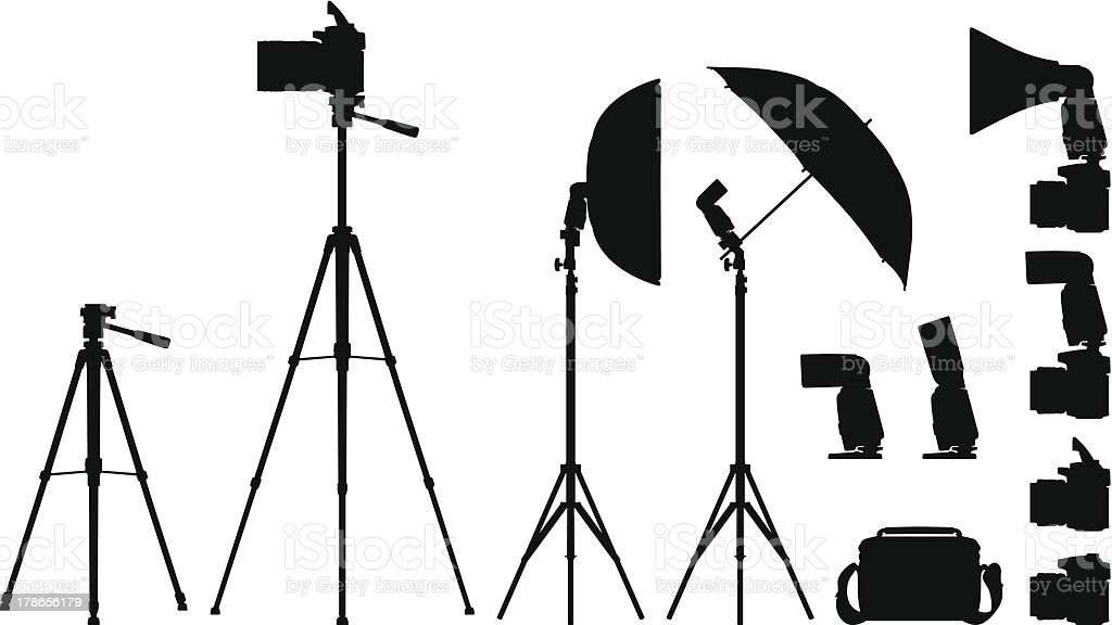 Camera and Equipments vector art illustration