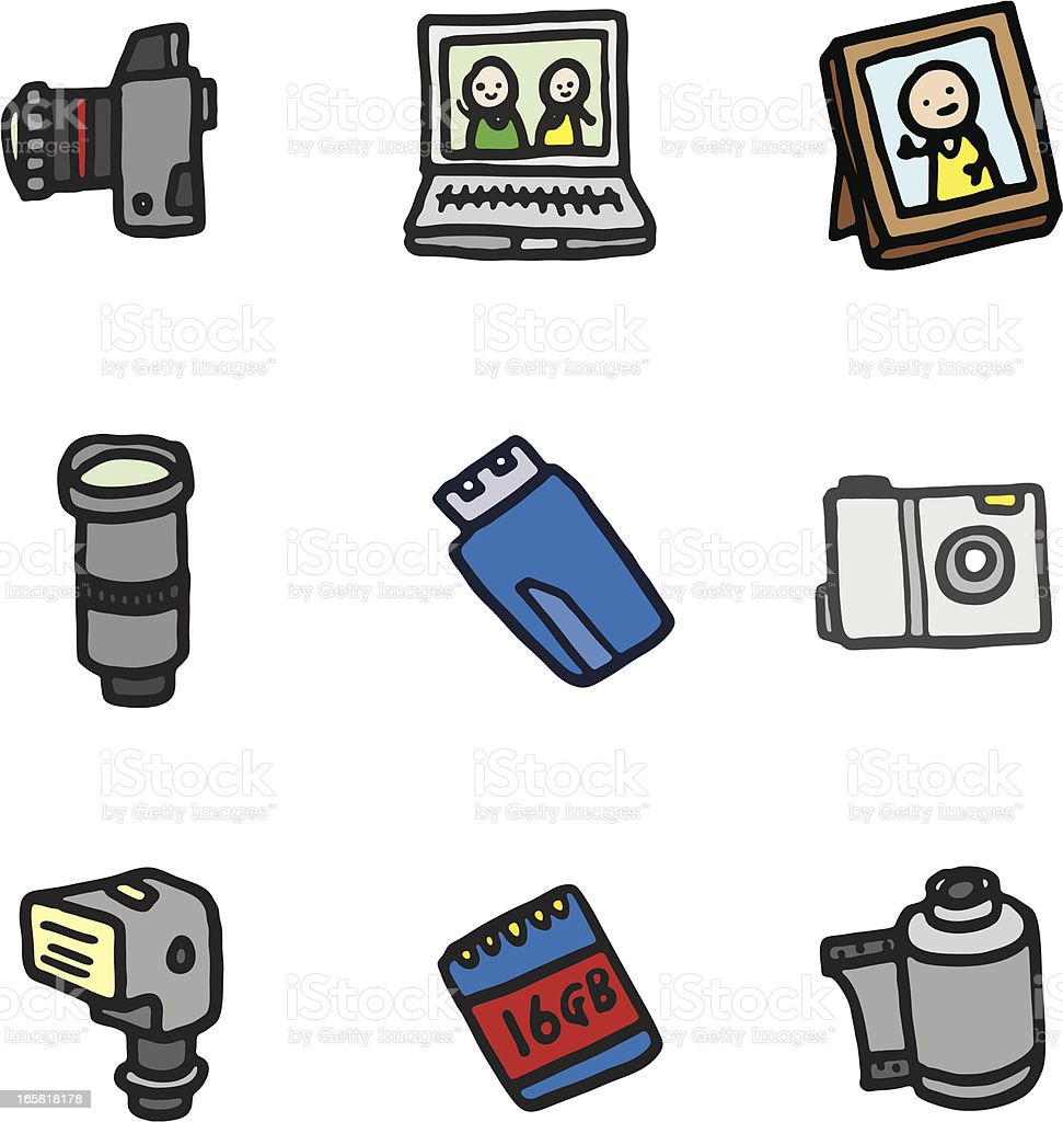 Camera and photography doodle icons royalty-free stock vector art