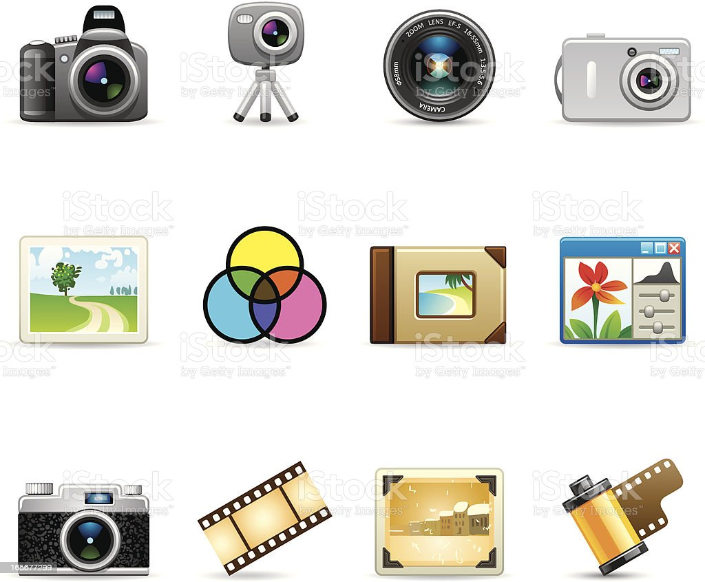 Camera and photography icon set vector art illustration