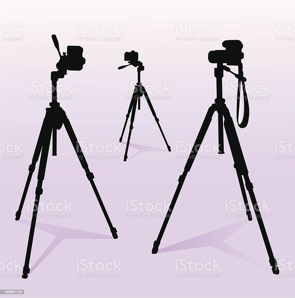 camera and tripod set vector art illustration