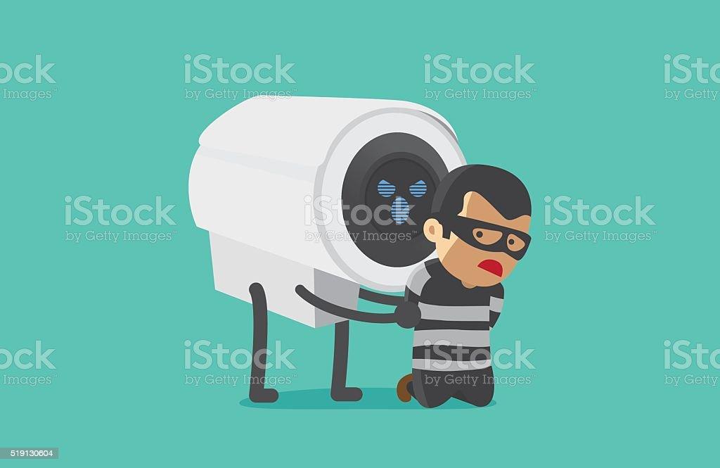 CCTV Camera arrested robber. vector art illustration