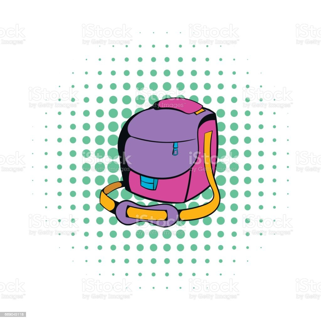 Camera bag icon, comics style vector art illustration
