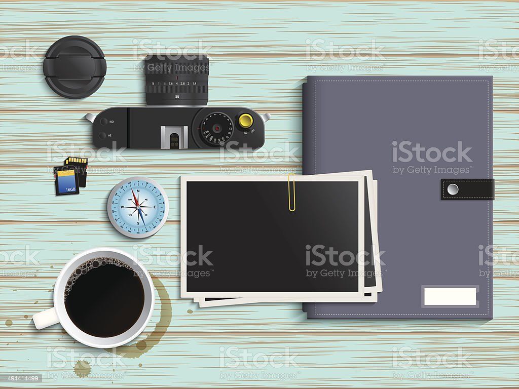 Camera, coffee, compass and colorful diary on Vintage table vector art illustration