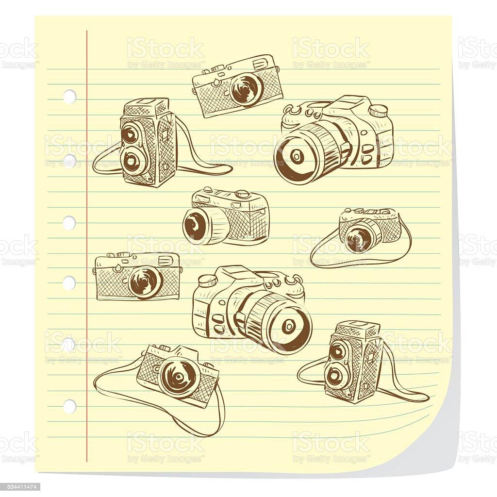 Camera Doodle Illustration vector art illustration