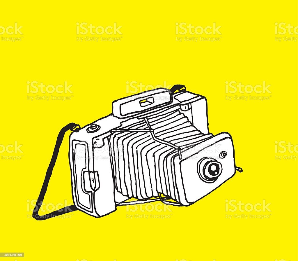 Camera Drawing on Yellow vector art illustration