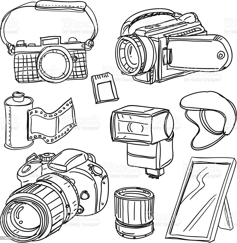 Camera equipment in black and white royalty-free stock vector art