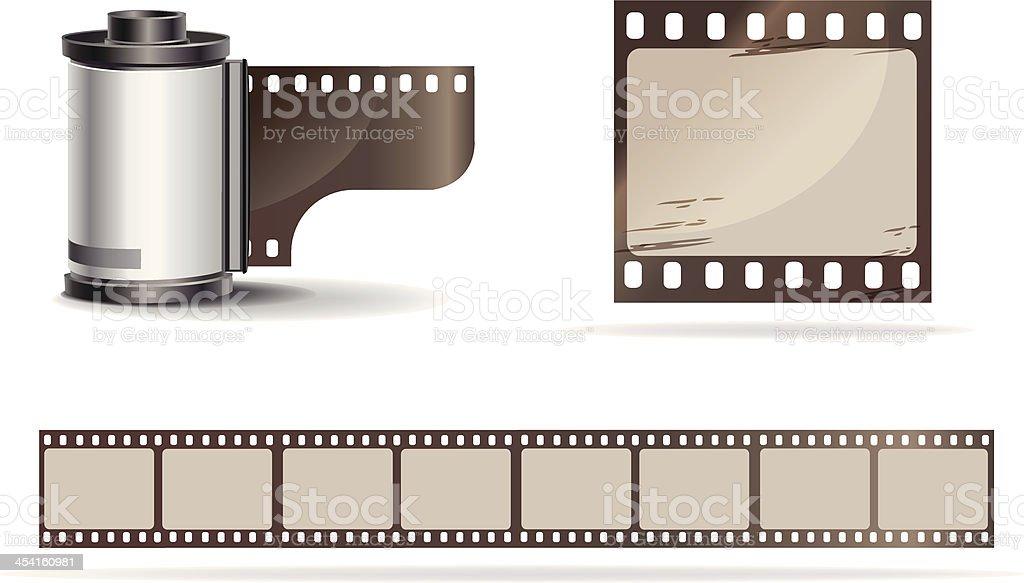 Camera film roll and films vector art illustration