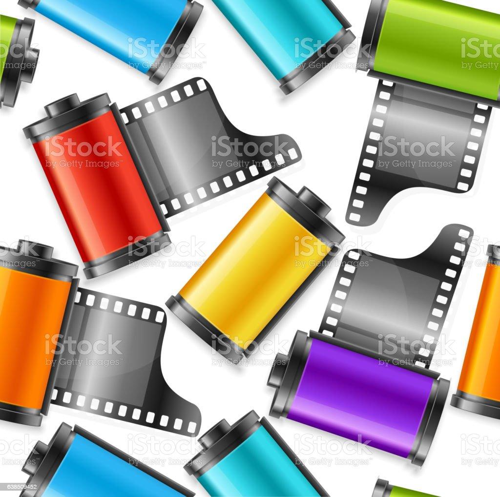 Camera Film Roll Cartrige Background Pattern. Vector vector art illustration