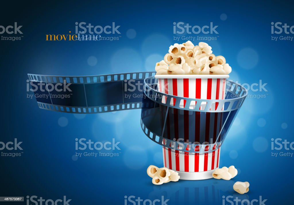 Camera film strip and popcorn. vector art illustration