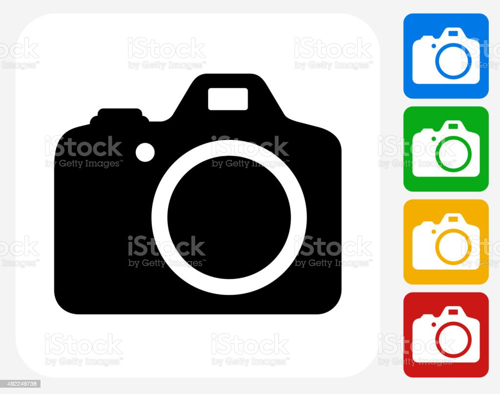 DSLR Camera Icon Flat Graphic Design vector art illustration