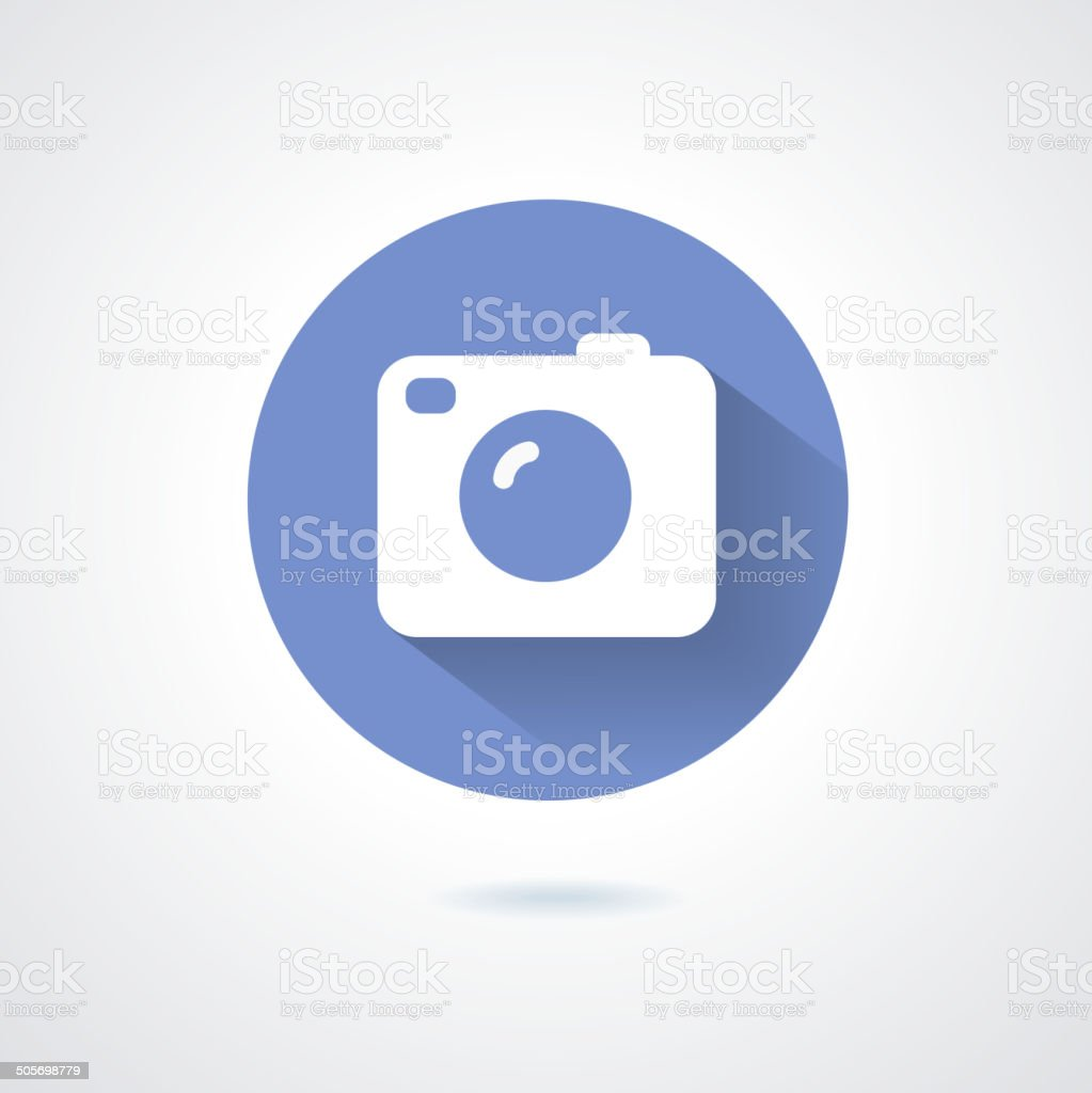 Camera icon flat style with long shadow vector art illustration
