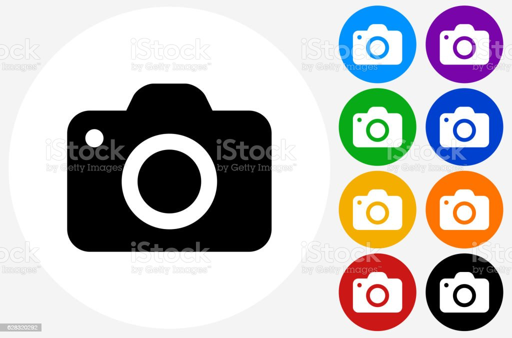 Camera Icon on Flat Color Circle Buttons vector art illustration