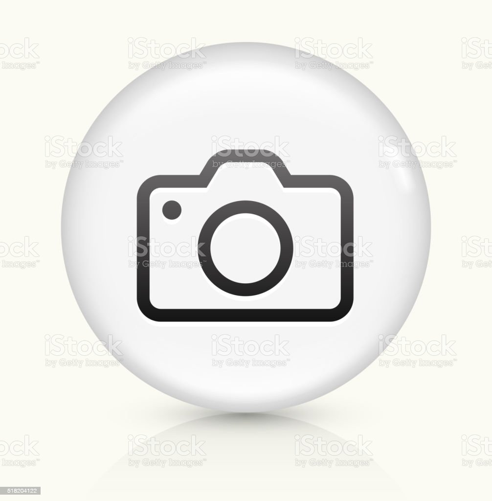 Camera icon on white round vector button vector art illustration
