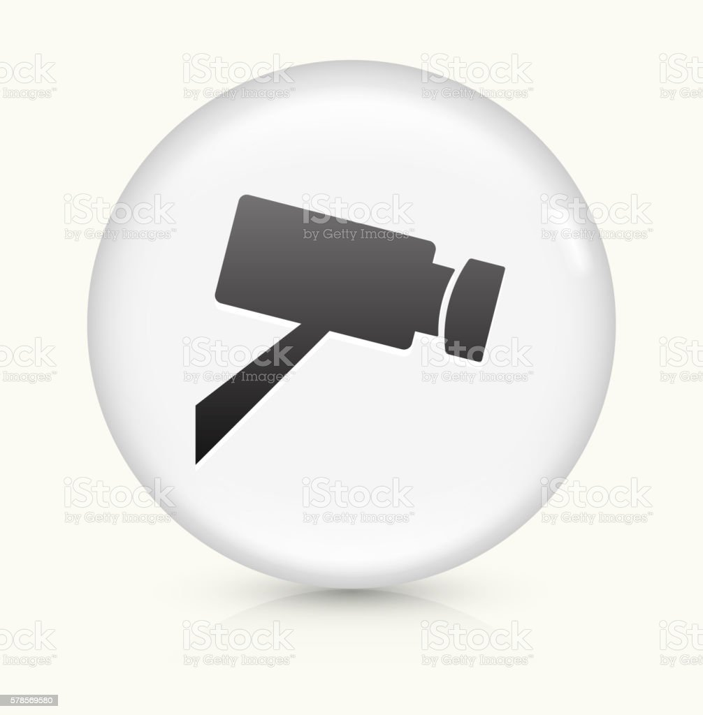 Camera icon on white round vector button vector art illustration