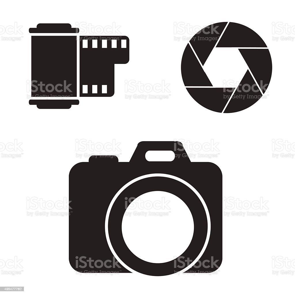 Camera icon set. vector art illustration