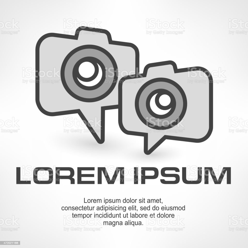 Camera icon speech bubble vector art illustration