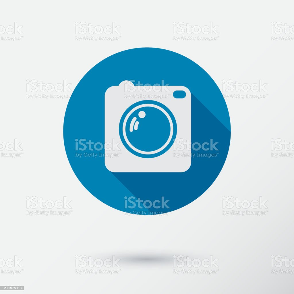 Camera icon with long shadow. Flat style. vector art illustration