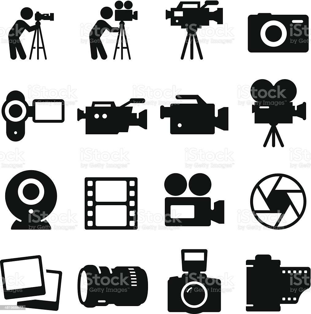 Camera Icons - Black Series vector art illustration
