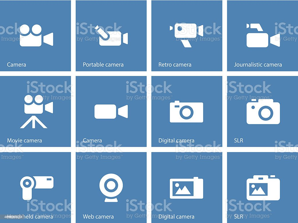 Camera icons on blue background. vector art illustration
