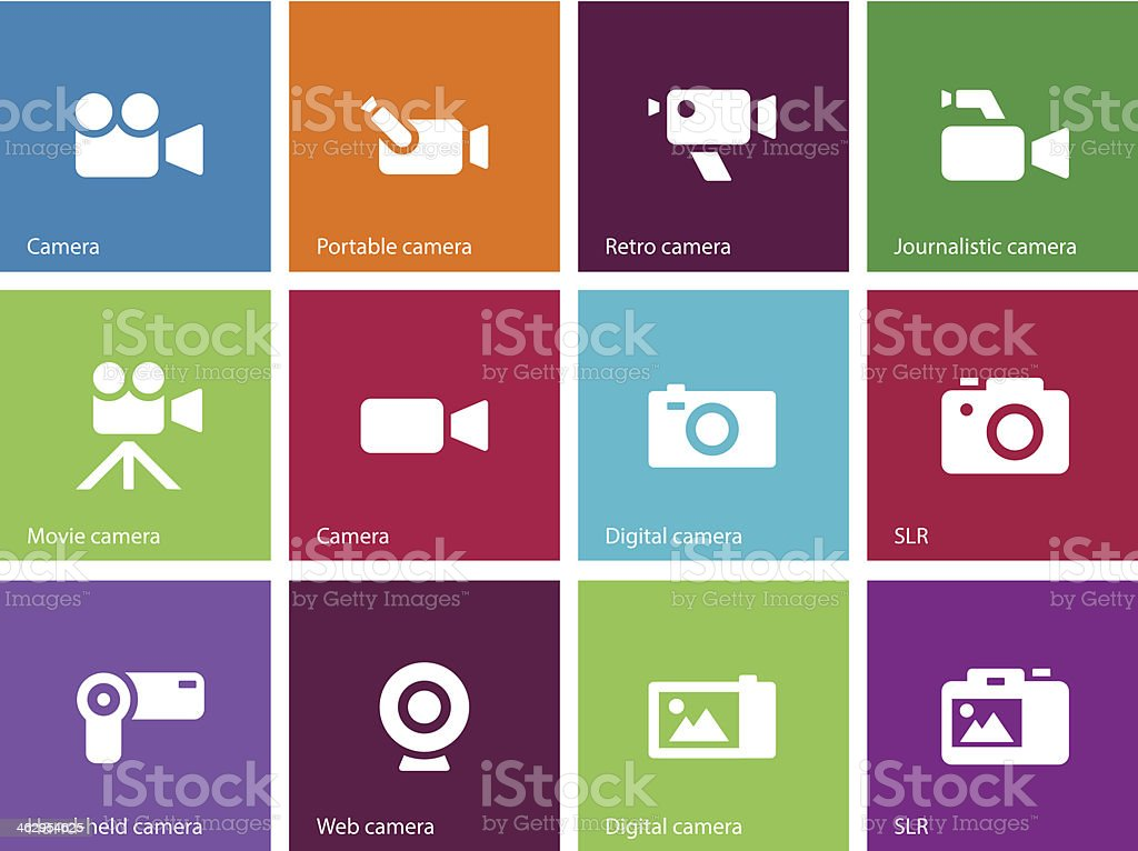 Camera icons on color background. royalty-free stock vector art