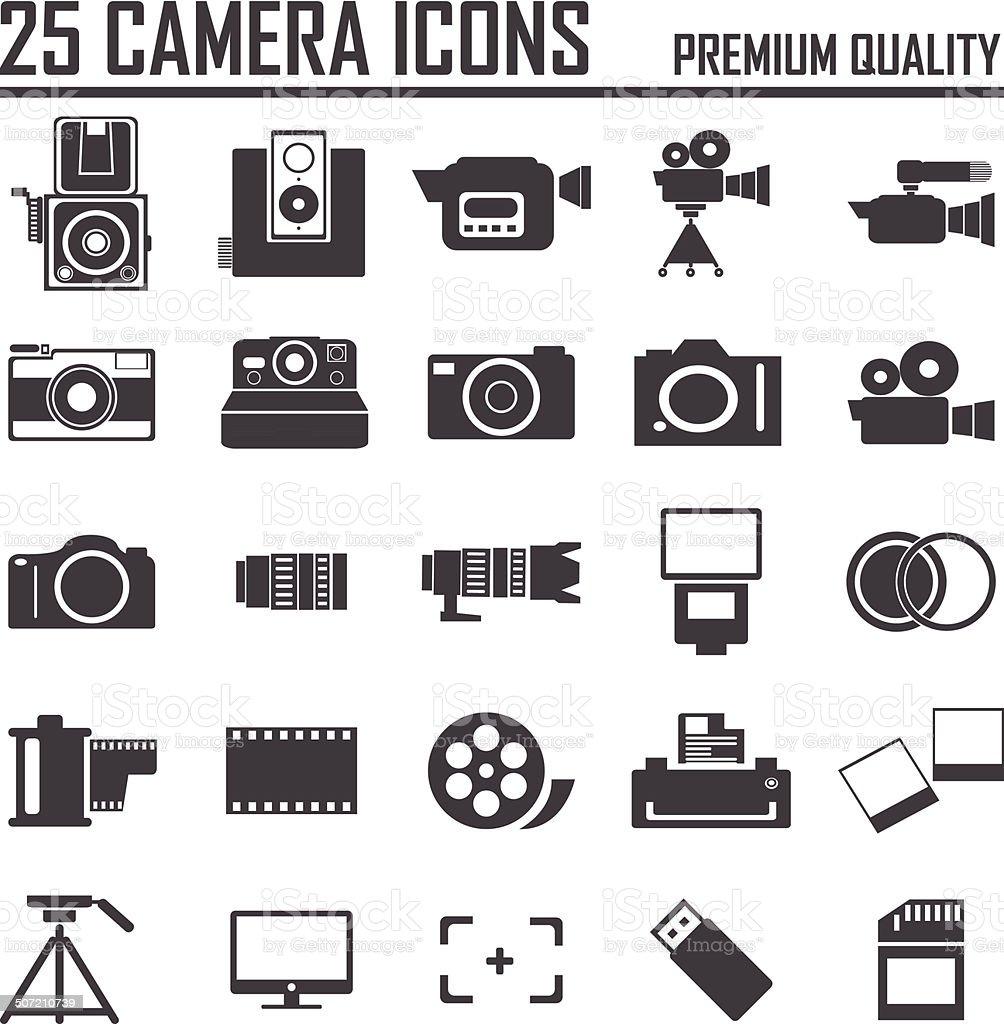 25 camera icons, premium quality vector art illustration
