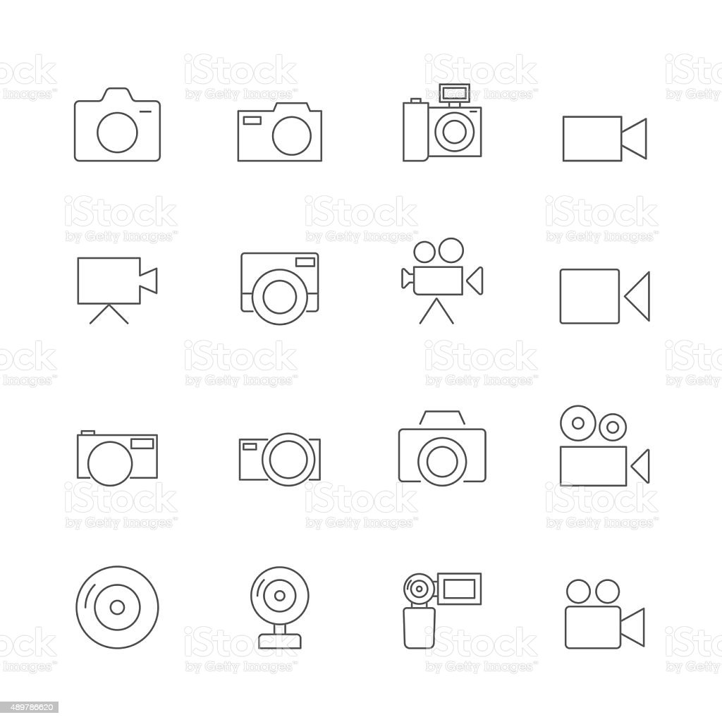 camera icons set vector art illustration