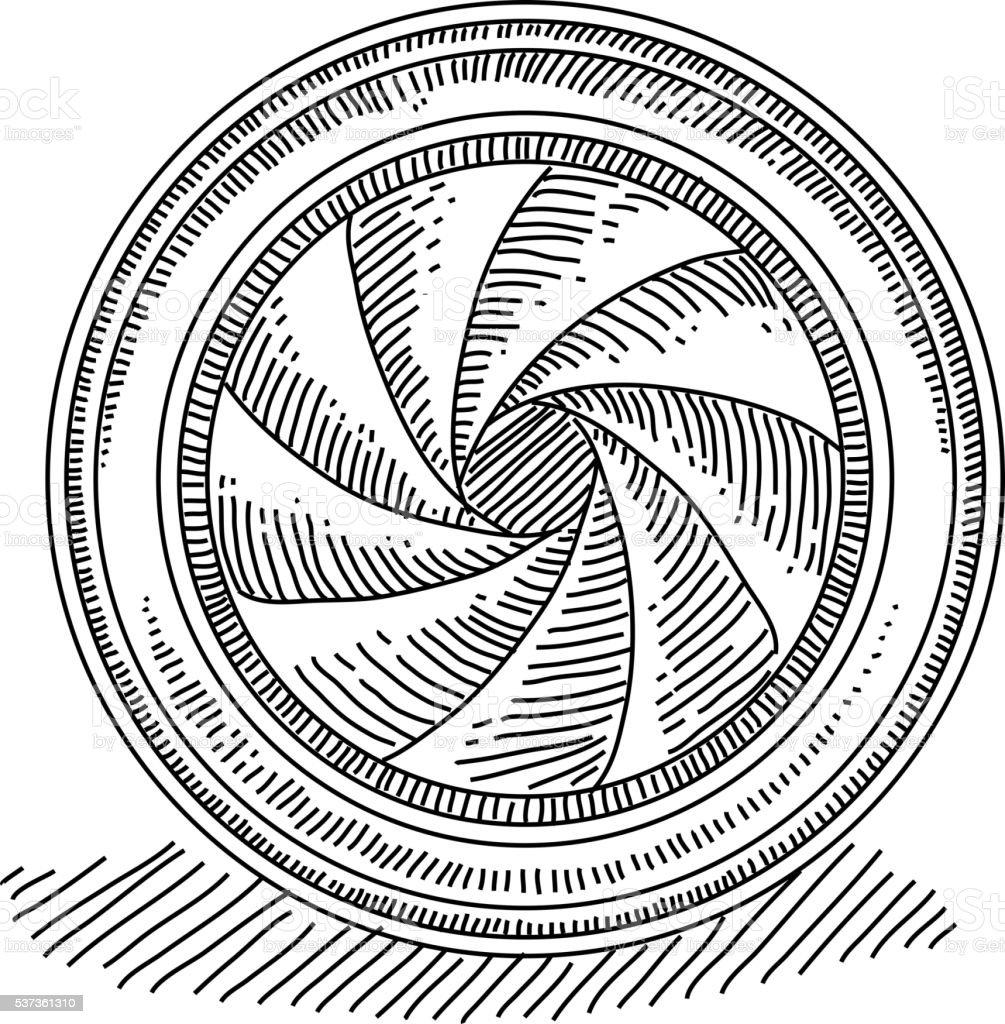 Camera Lens Drawing vector art illustration