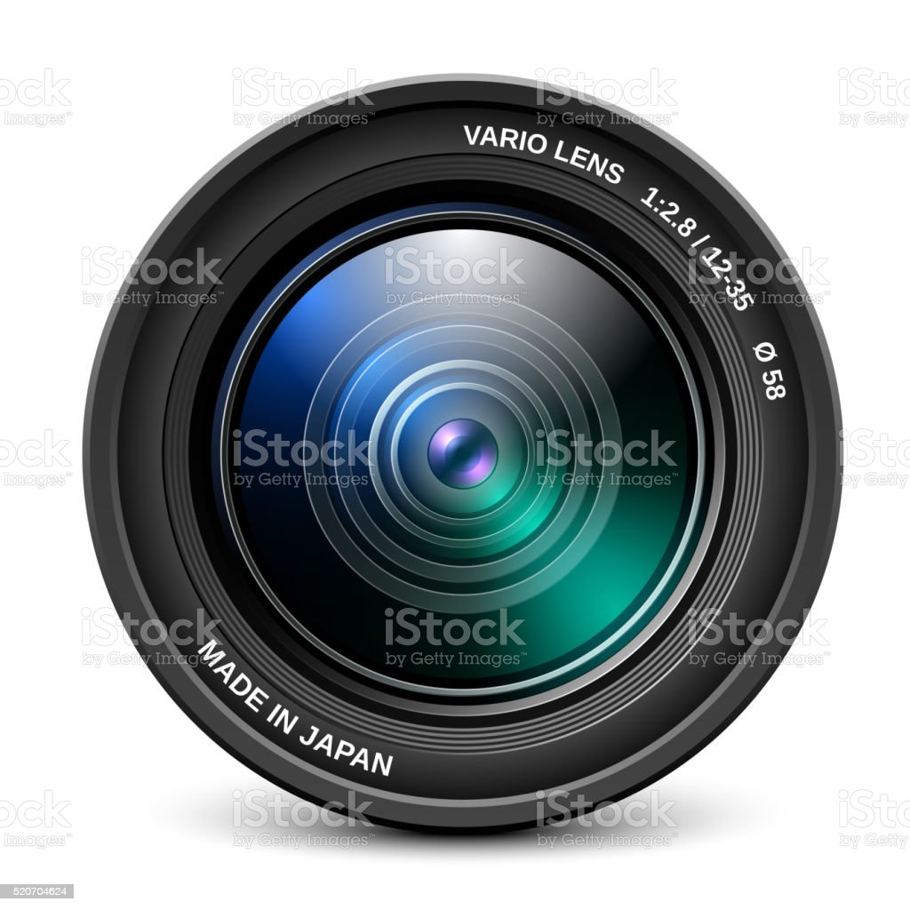 Camera lens isolated on white background vector art illustration