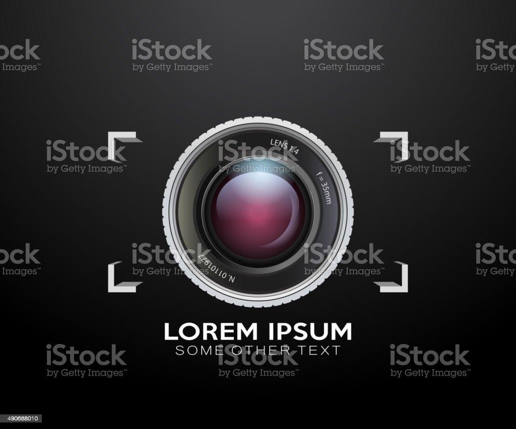 Camera lens logo icon vector vector art illustration