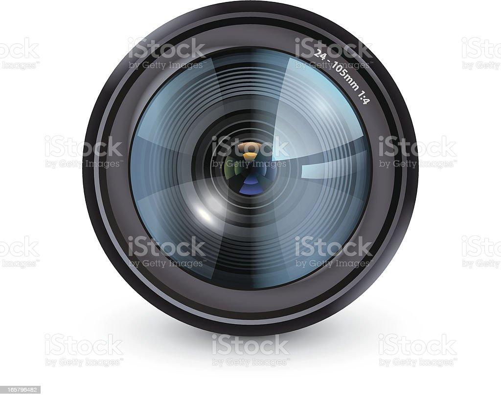 Camera lens vector art illustration