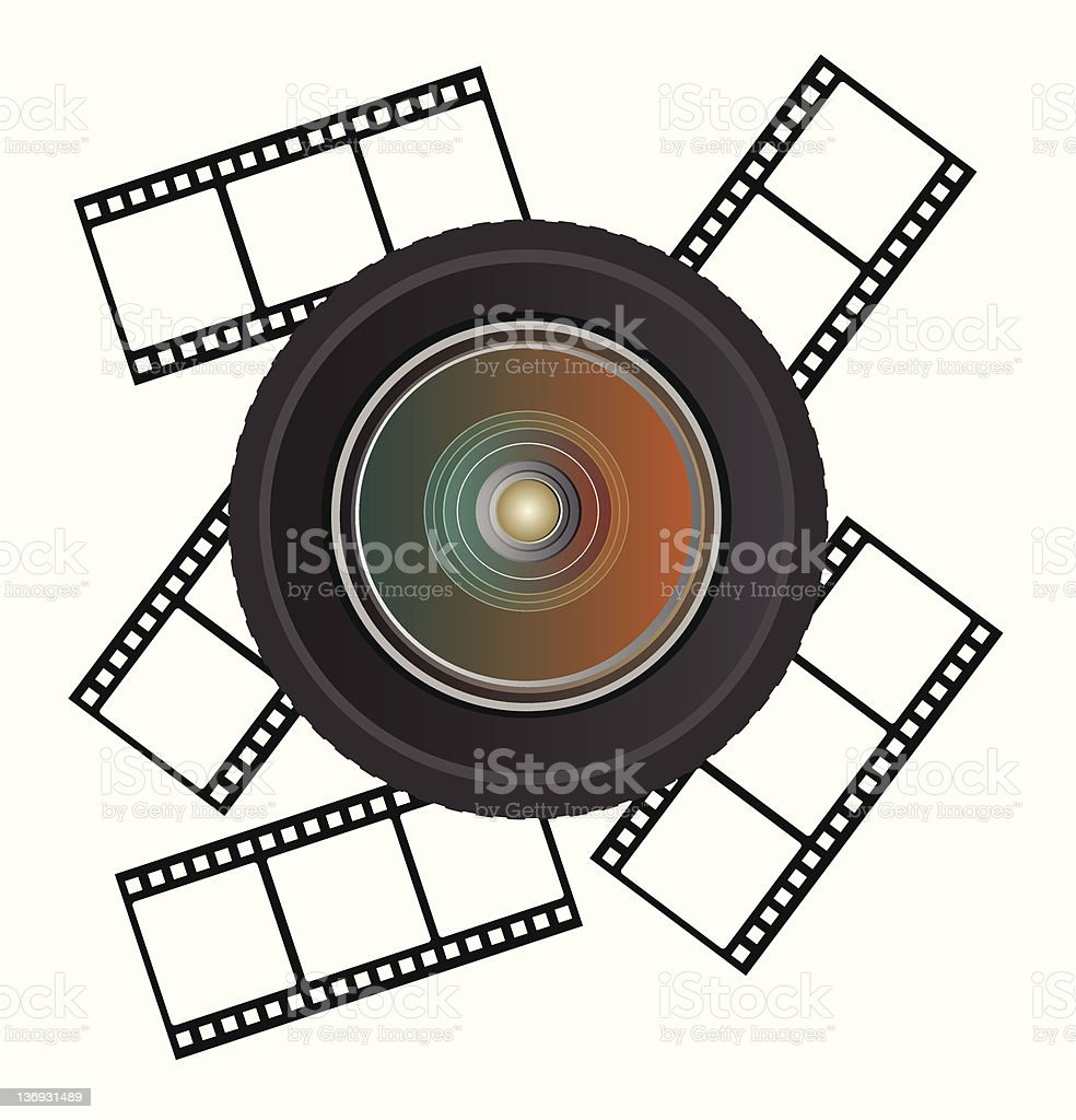 camera lens with film vector art illustration