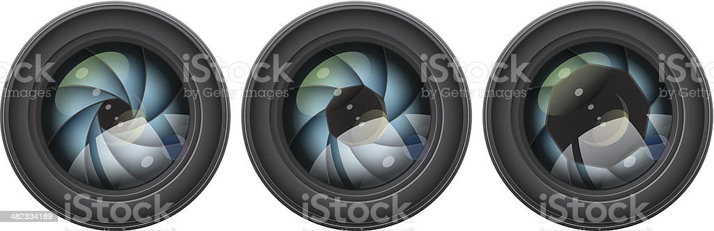 camera lens with shutter apertures royalty-free stock vector art