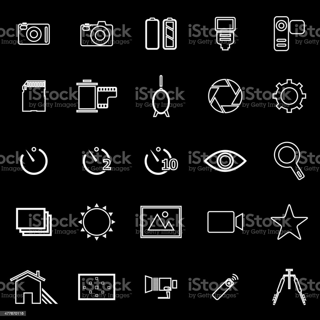 Camera line icons on black background vector art illustration