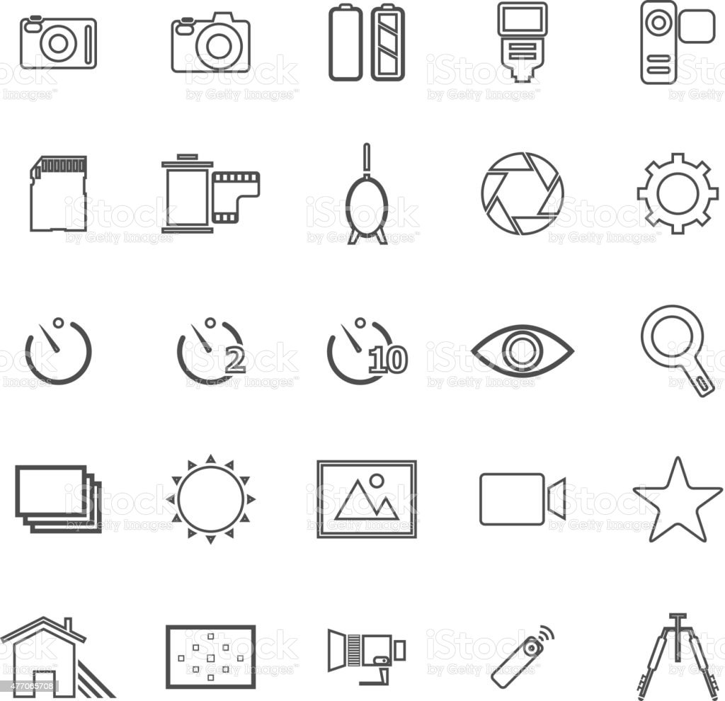 Camera line icons on white background vector art illustration