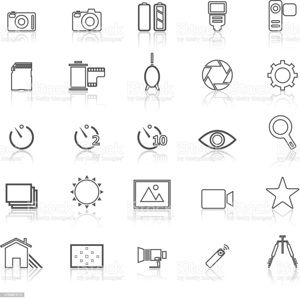 Camera line icons with reflect on white vector art illustration