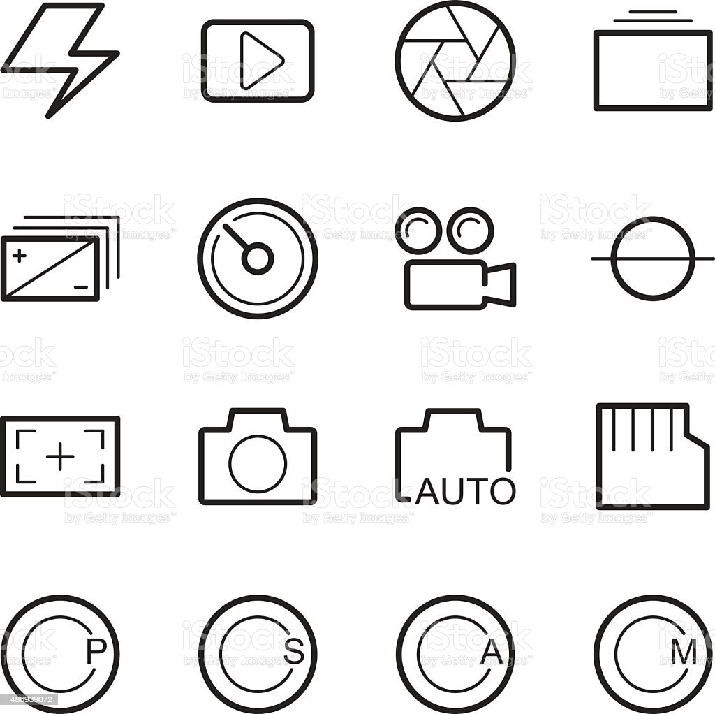 camera menu function icons vector art illustration