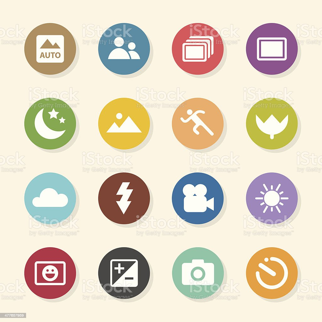 Camera Menu Icons Set 1 - Color Circle Series vector art illustration