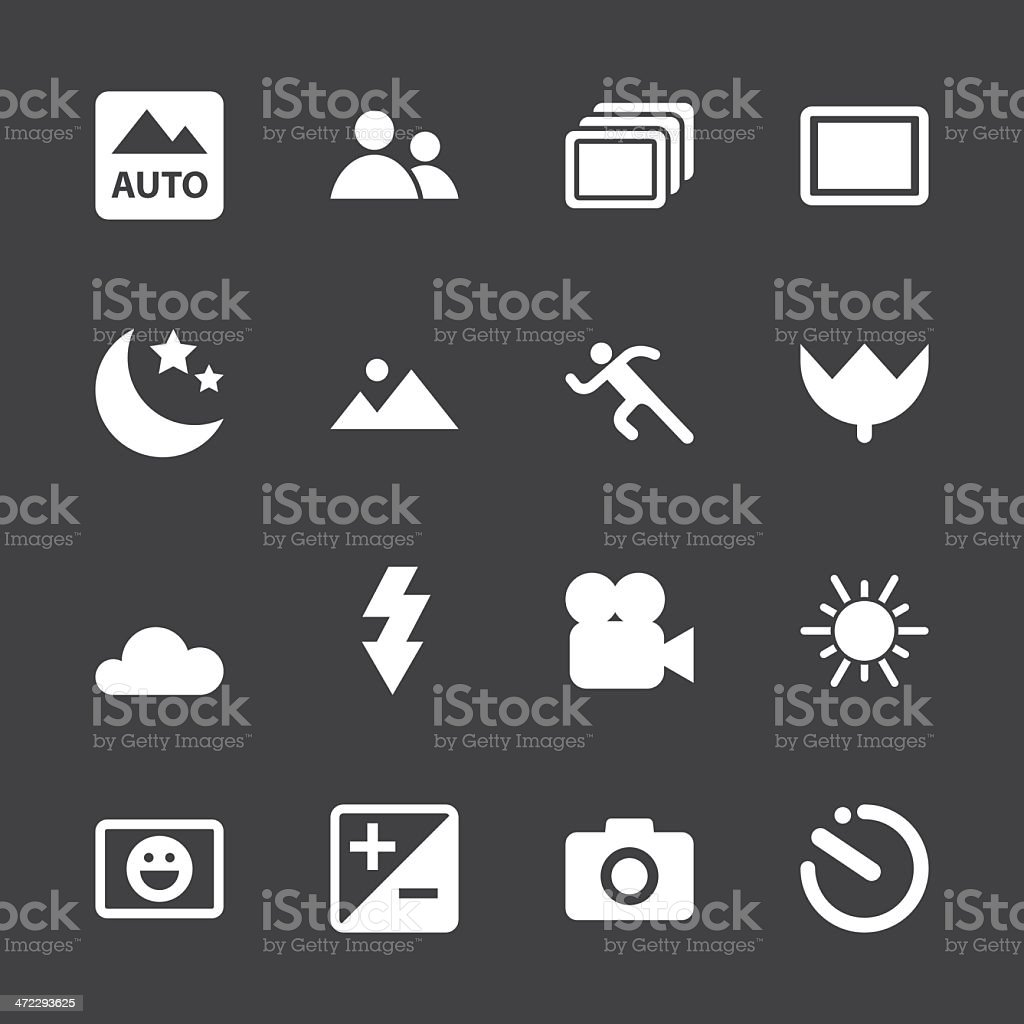 Camera Menu Icons Set 1 - White Series | EPS10 vector art illustration