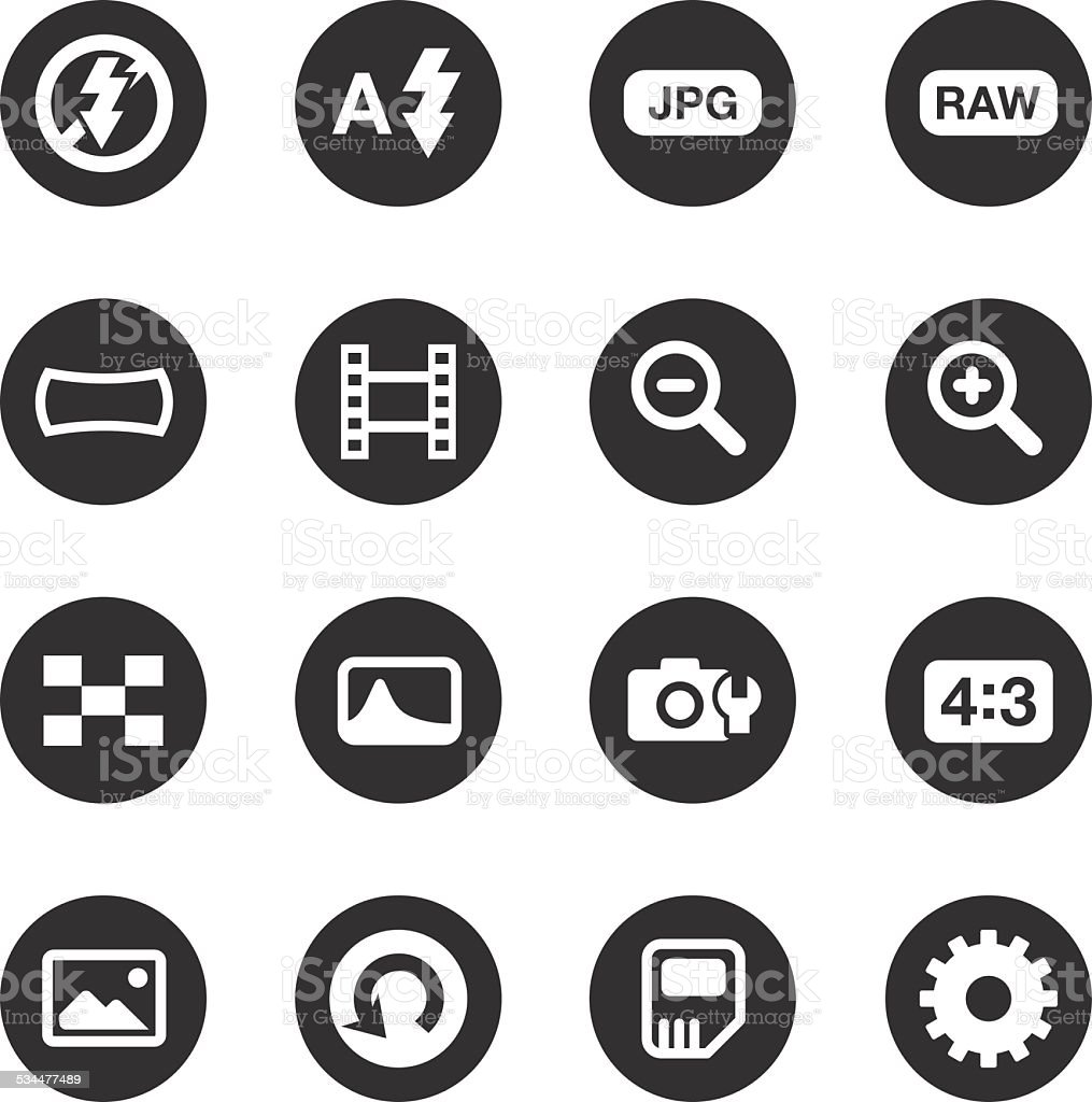 Camera Menu Icons Set 3 - Black Circle Series vector art illustration