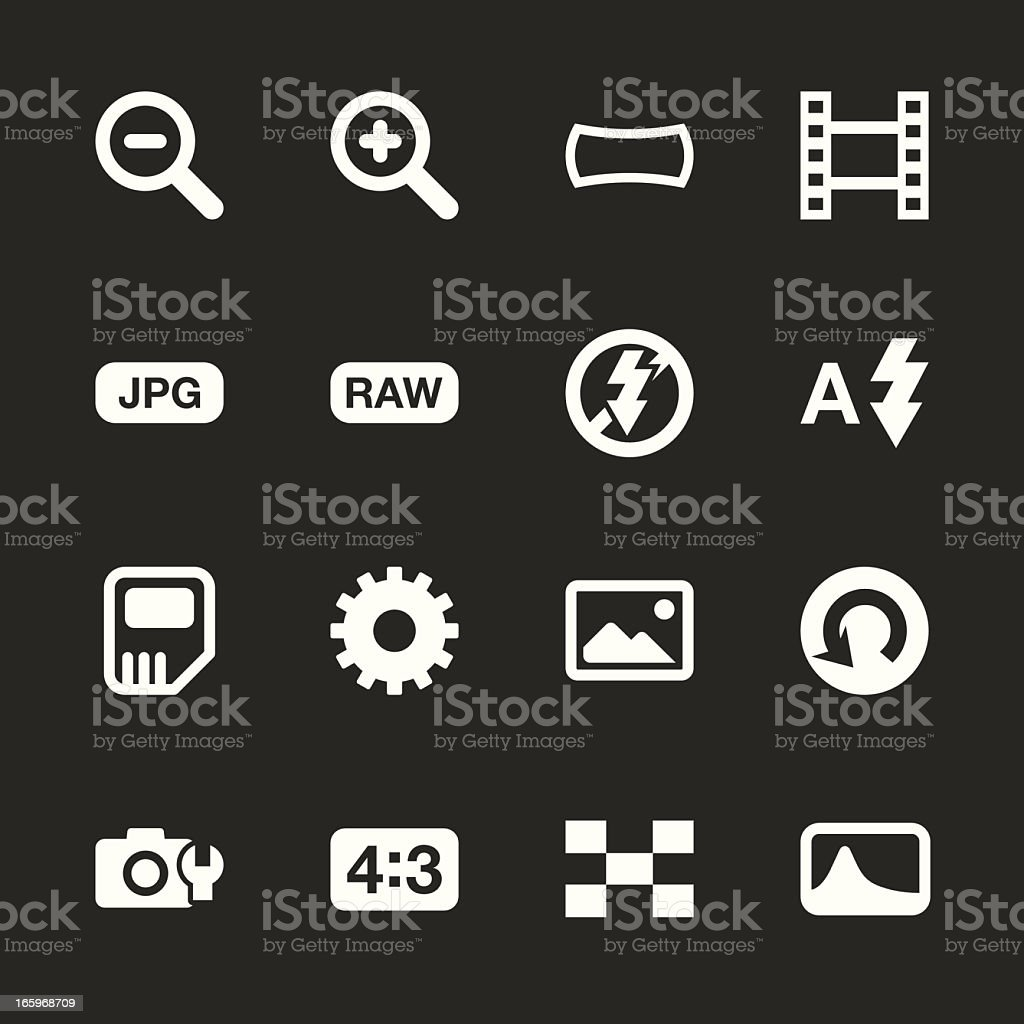 Camera Menu Icons Set 3 - White Series | EPS10 vector art illustration