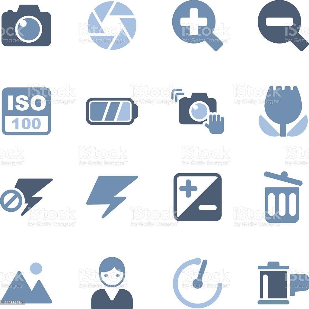 camera menu icons vector art illustration