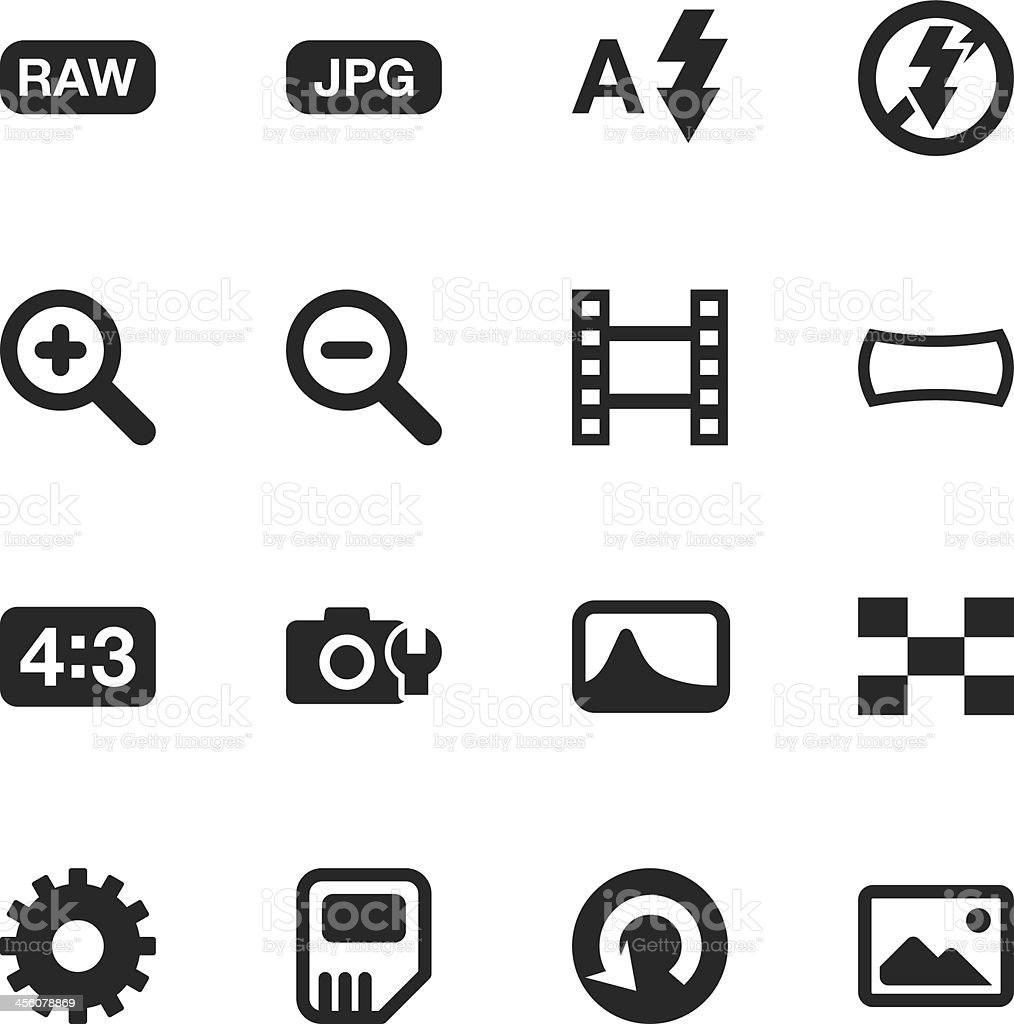 Camera Menu Silhouette Icons | Set 3 vector art illustration