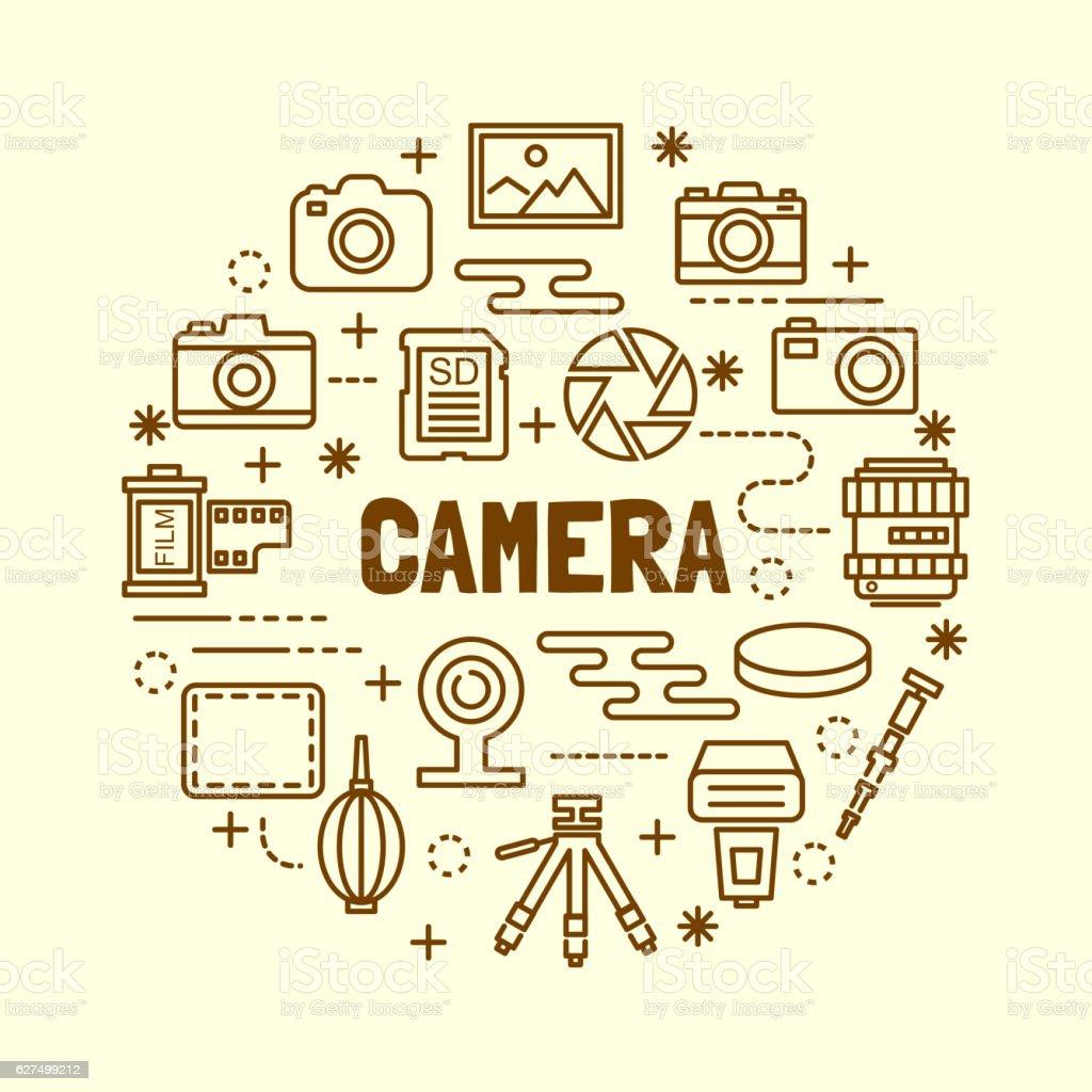 camera minimal thin line icons set vector art illustration