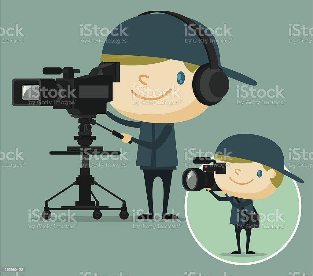 TV camera operator vector art illustration