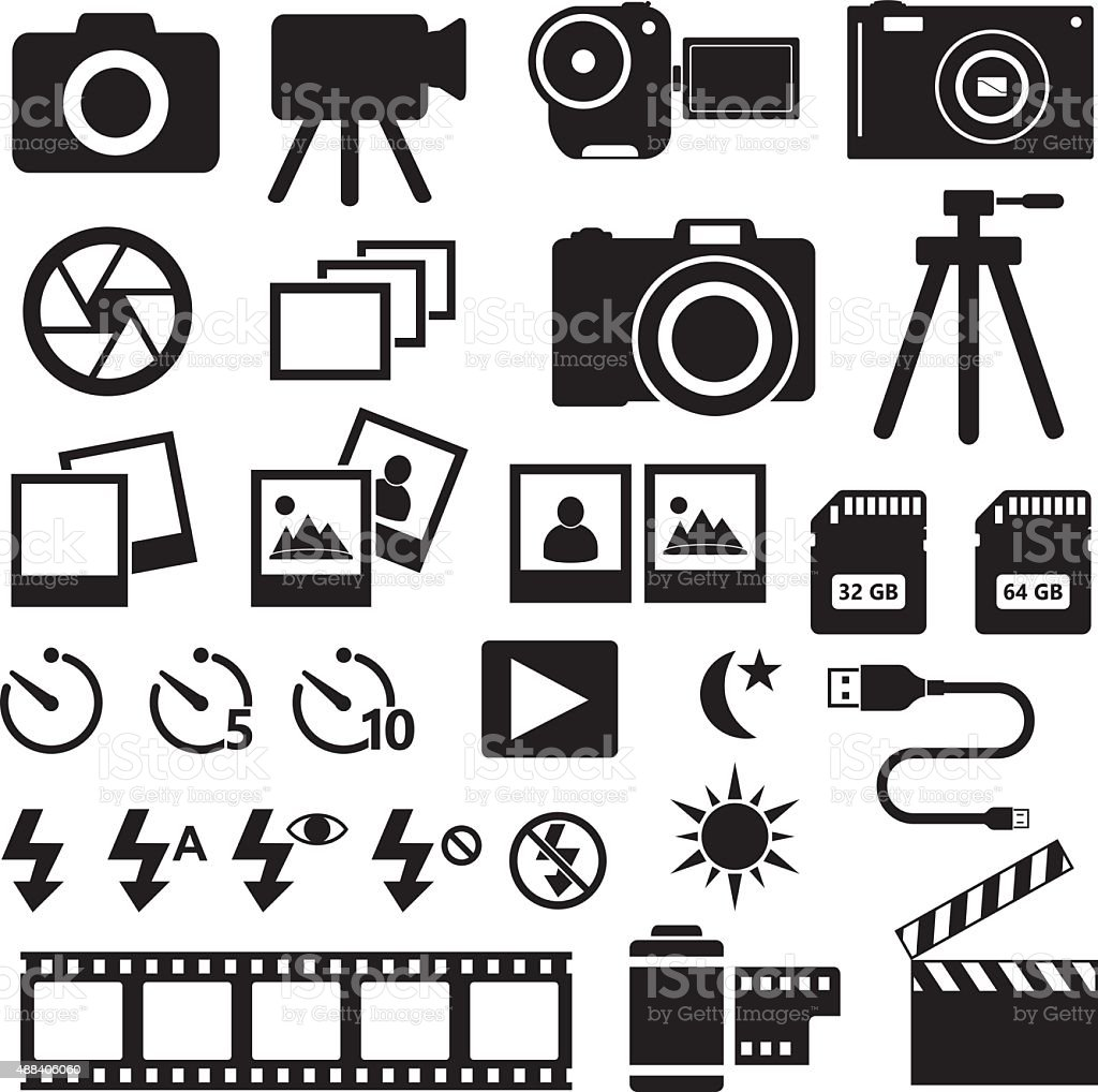 Camera Photo Icons vector art illustration