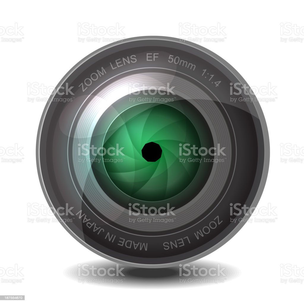 Camera photo lens with shutter. royalty-free stock vector art