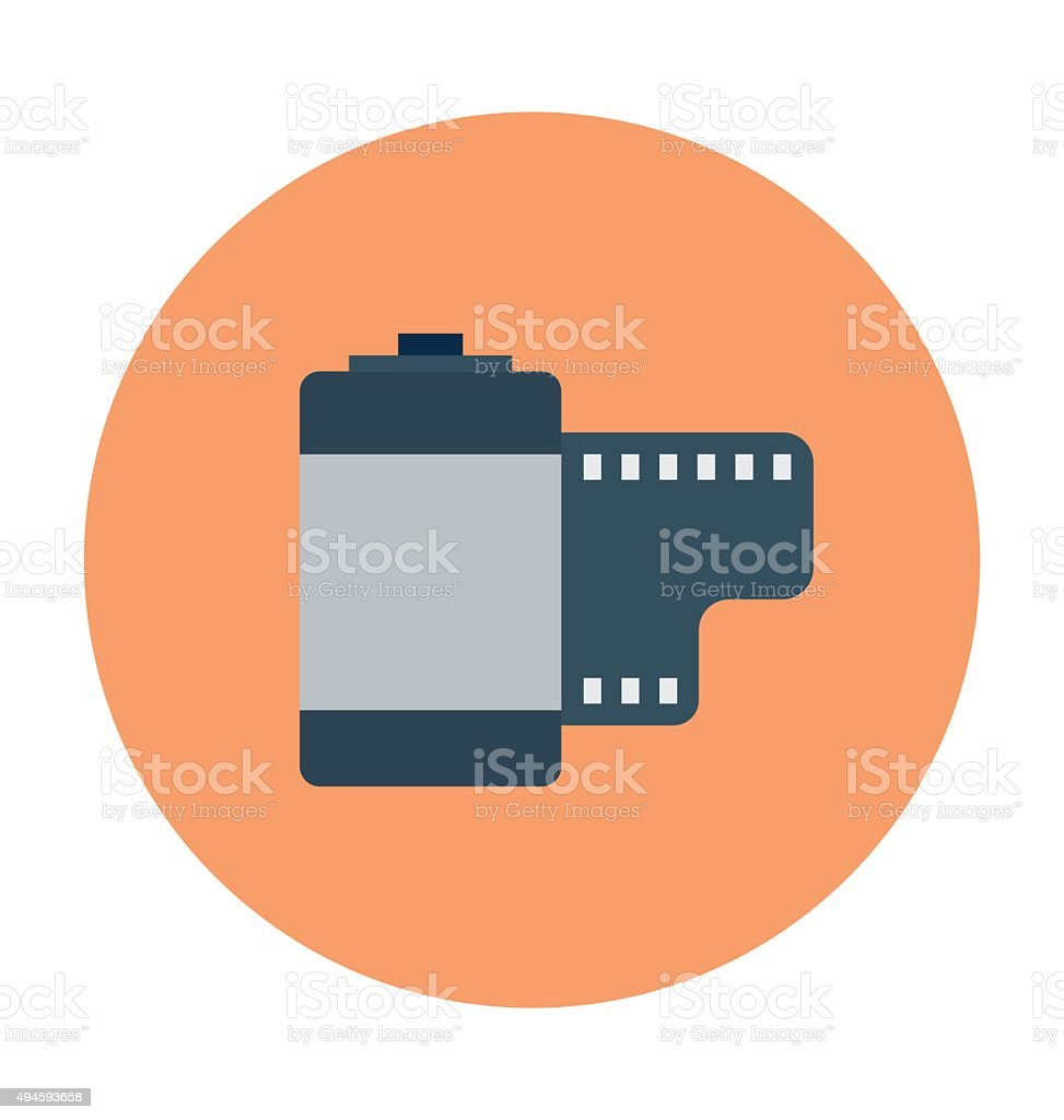Camera Reel Colored Vector Icon vector art illustration