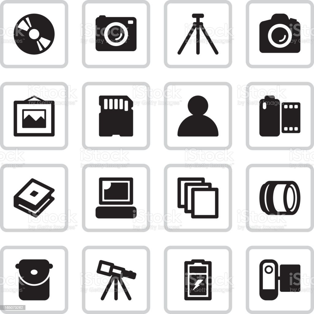 Camera Shop & Kiosk Icons | Black royalty-free stock vector art