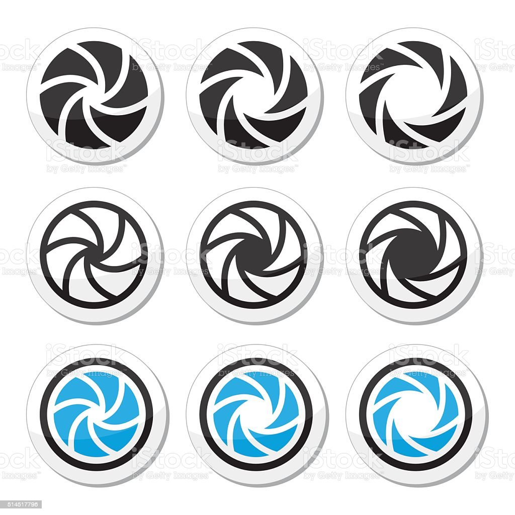 Camera shutter aperture vector icons set vector art illustration