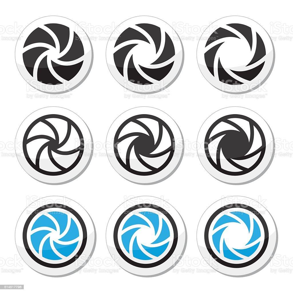 Camera shutter aperture vector icons set vector art illustration